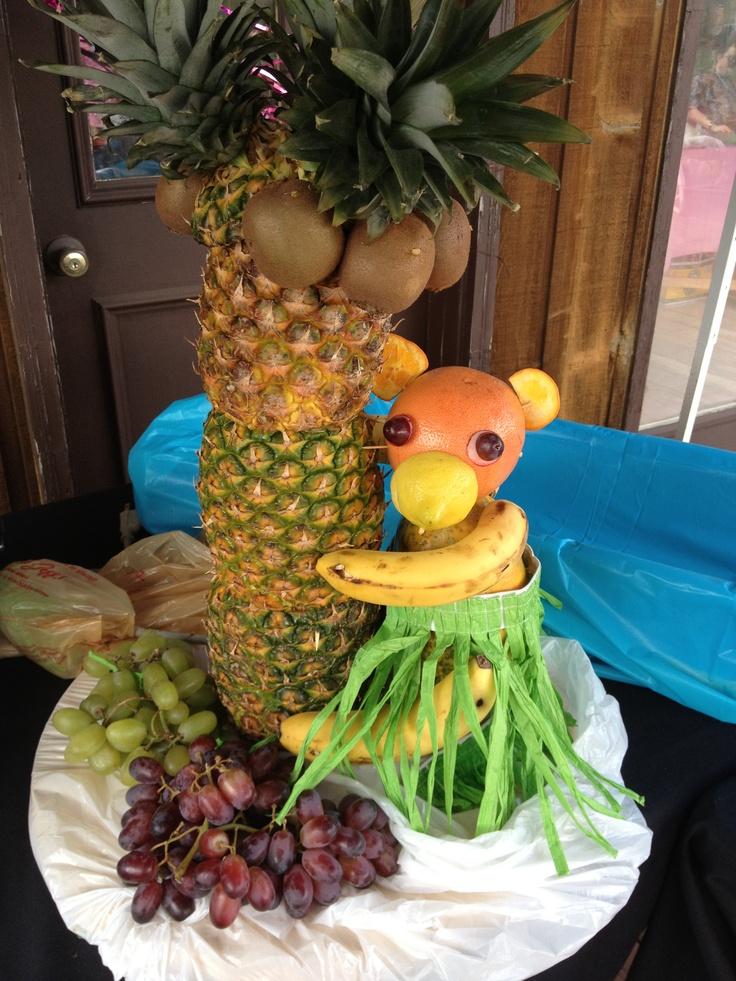 Fruit sculpture at a Hawaiin party.