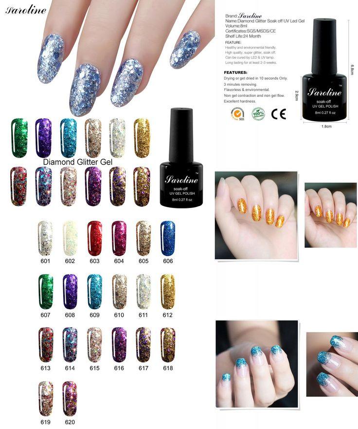 [Visit to Buy] Saroline Lucky Diamond Glitter 8ml Nail Gel Polish Soak Off Gel Varnish Use with Base Top Need UV Led Lamp Gel Nail Lacquer #Advertisement