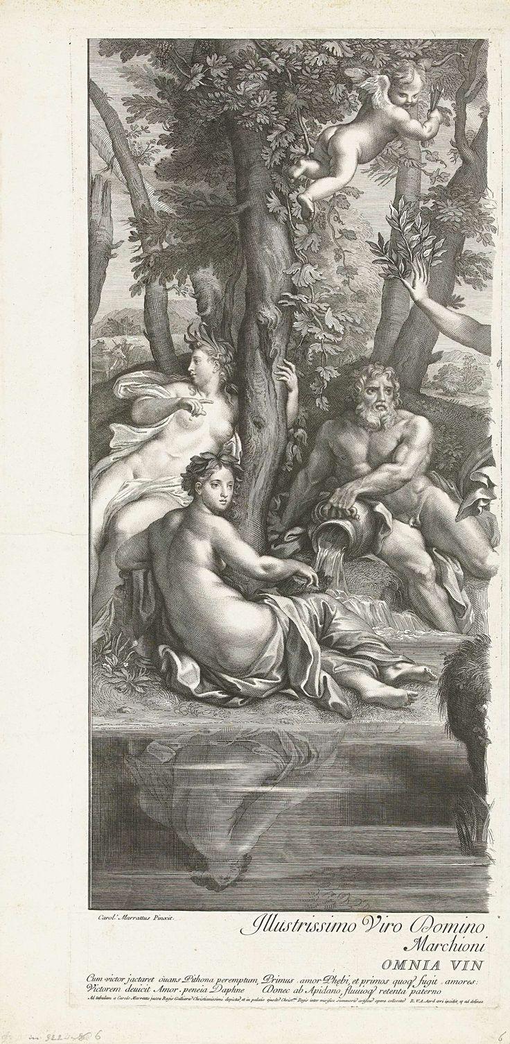 Robert van Audenaerd | Apollo en Daphne (linker deel), Robert van Audenaerd, 1685 - 1728 | Een riviergod en twee nimfen kijken naar de vluchtende Daphne. Tussen de boomtakken is Amor te zien, de oorzaak van het kwaad. Hij houdt een bundel pijlen in zijn hand.