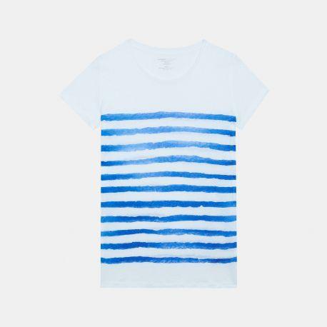 Round neck t-shirt - Blanc / Electrique - 100% LINEN