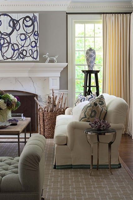 Living room at zhush, wall color: Benjamin Moore's Cape Hatteras Sand