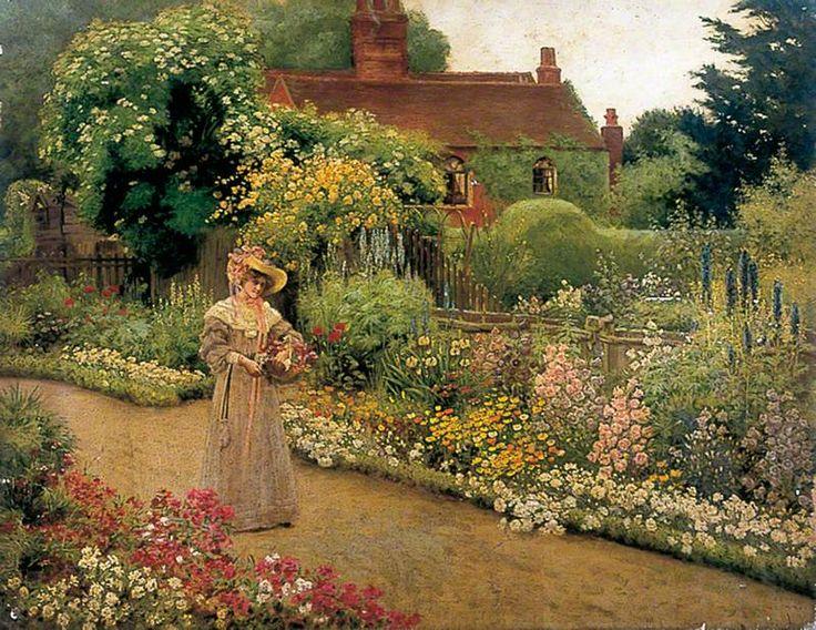 Victorian English Garden Painting Come Into The Garden