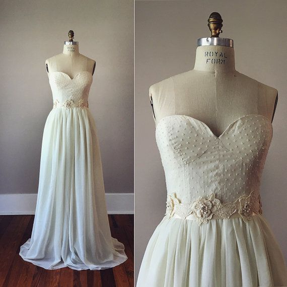 Louise Dotted Swiss Strapless Wedding Dress / Bustier Wedding Dress / Vintage Inspired Dress / Cotton and Silk / Swiss Dot