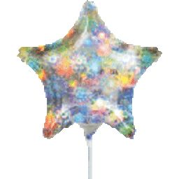 9'' Holographic Fireworks Star - Foil Balloon, air-fill