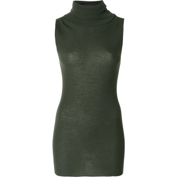Rick Owens sleeveless jumper ($589) ❤ liked on Polyvore featuring tops, sweaters, green, rick owens sweater, green sweater, roll neck jumper, roll neck sweater and rick owens