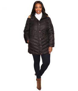 Marc New York by Andrew Marc Plus Size Renee Chevron Down Coat (Black) Women's Coat