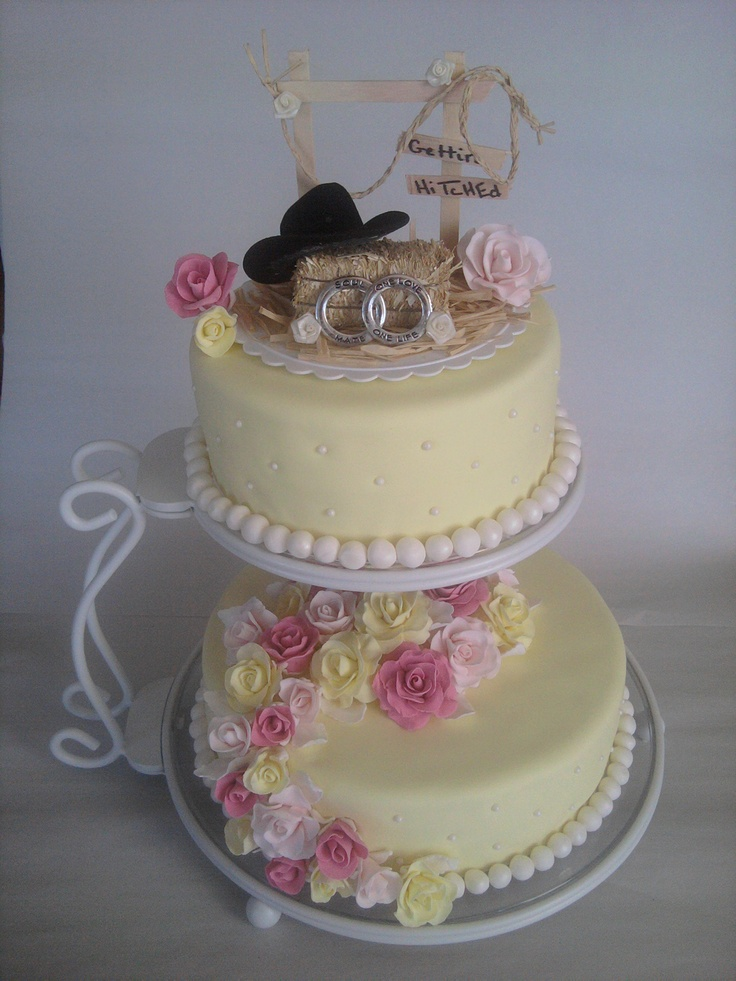 shabby chic bridal shower cakes%0A Romantic Country themed wedding cake