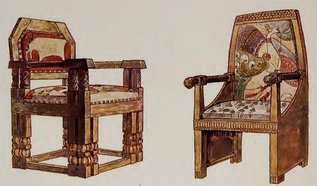 Illustration: Aleksei Zinovief. Wooden chair designs, 1906.