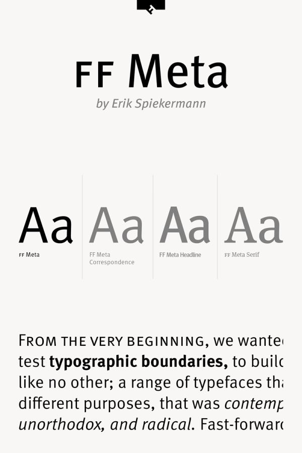 FF Meta Font Family from Foundry FontFont