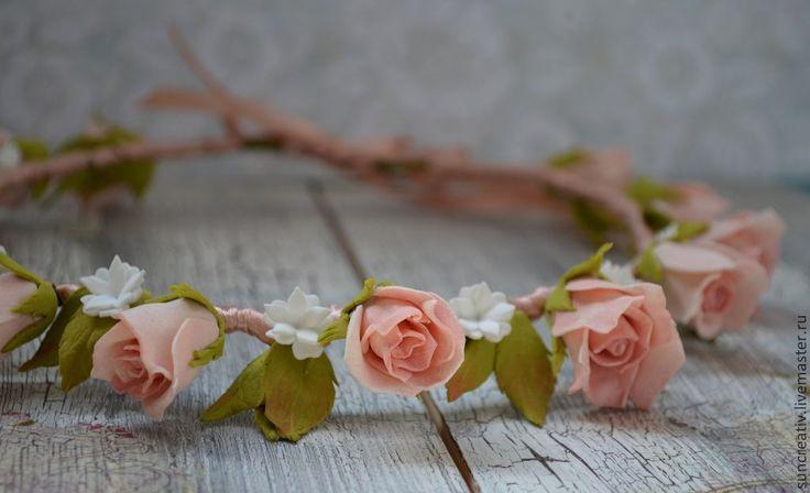 Купить Нежный веночек из роз. - бледно-розовый, фотосессия, фоамиран, венок из цветов