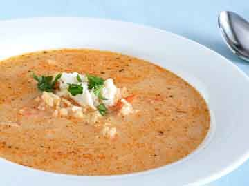 Cauliflower-Crab Chowder: Fresh dill, lemon zest, crab and cauliflower compliment each other is this creamy soup recipe. The red bell pepper adds a touch of bright color.