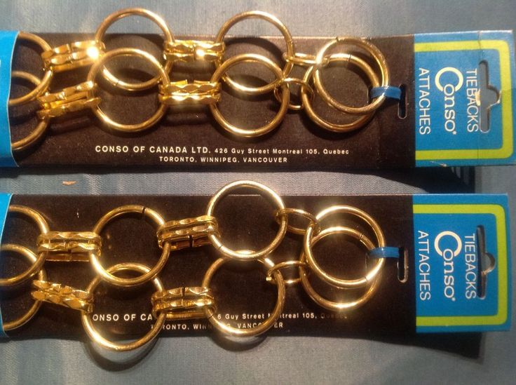 TWO Vintage Brass/Gold Metal Drapery Curtain CONSO TIE BACK Hook Chain NIP RINGS #Conso