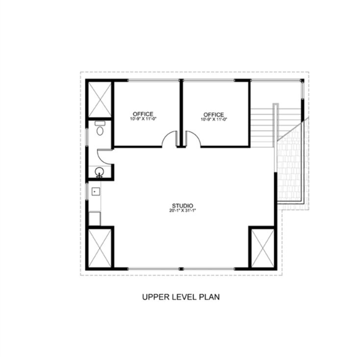 Contemporary Style House Plan - 2 Beds 1 Baths 1024 Sq/Ft Plan #498-3 Floor Plan - Upper Floor Plan - Houseplans.com