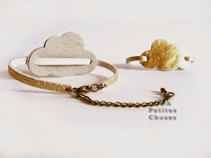"petites choses: Bracelet en cuir ""cloud"" or"