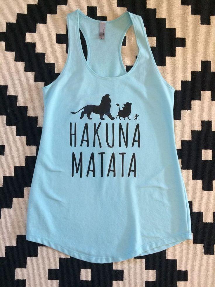 #Disney Blue Tank Top Medium Lion King Hakuna Matata #Disneyland  from $9.99