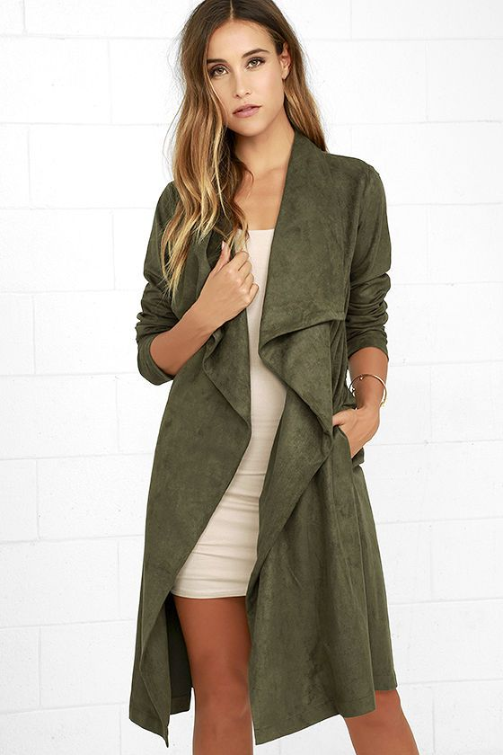 Only great things follow the All Good Olive Green Suede Trench Coat! Vegan suede is super soft over a collared neckline, long sleeves, and draping bodice with tying sash belt. Hidden side seam pockets.