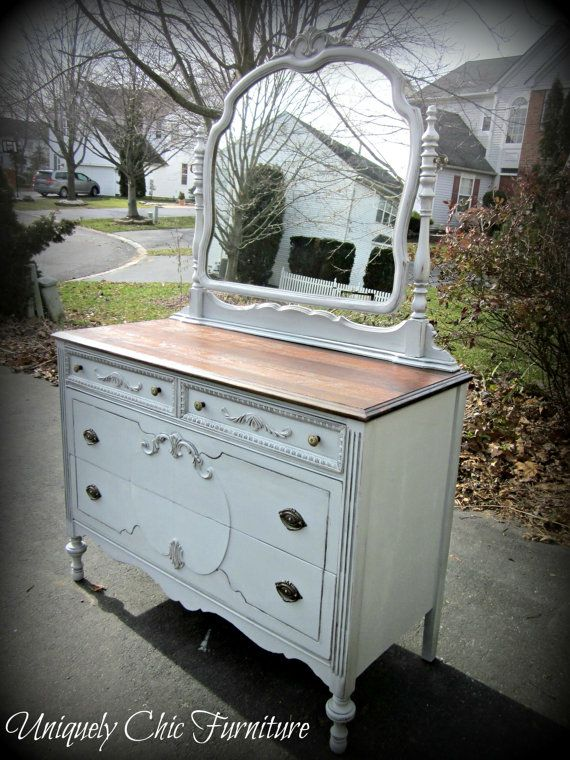 Vintage French Gray Dresser With Mirror