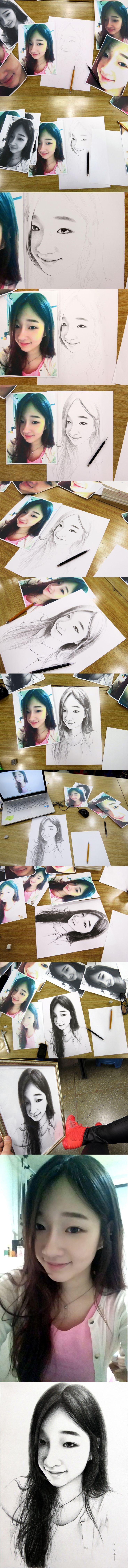 지우개 사용 안 함 샤프로만 그린 인물화 drawing / only sharp artist / sung su - song . korean 인물화, 초상화, 드로잉/송성수/An unforgettable love