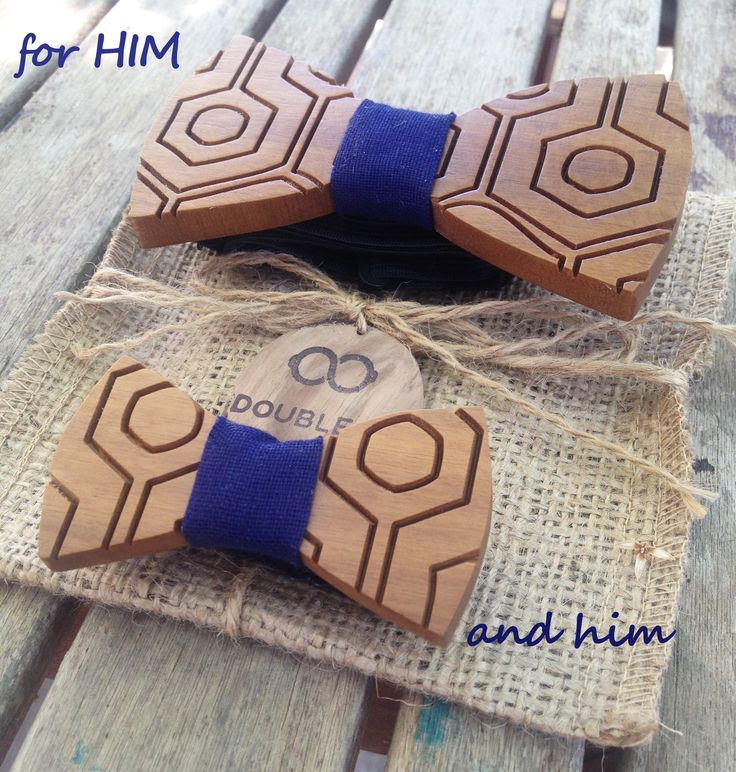 Handmade Wooden Bowties   Father & Son   Normal & Baby Size   Blue Linen Fabric   Adjustable Elastic Strap