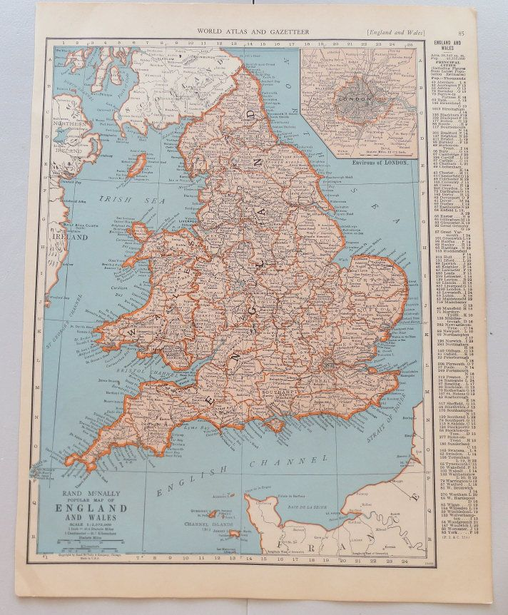 vintage map of england and wales vintage map of scotland on reverse side vintage