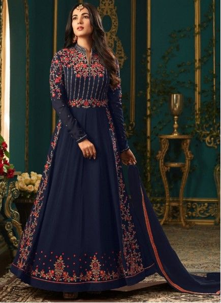 7762c259a0 Sonal Chauhan Resham Work Floor Length Anarkali Suit in 2019 | Maple ...