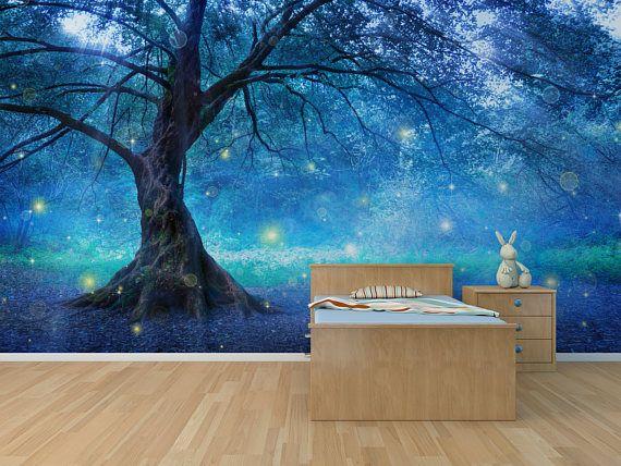 Mystic Tree Self Adhesive Peel And Stick 3d Photo Etsy Wall Wallpaper Mural Wall Murals