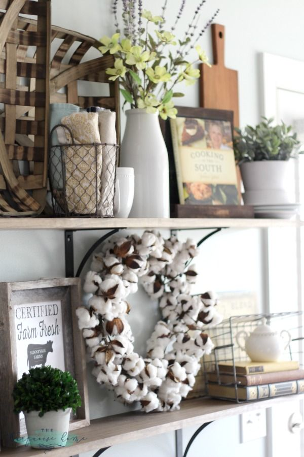 These 4 fabulous guidelines for decorating shelves (or any horizontal space like a table top or mantel) keep everything looking balanced and pretty!