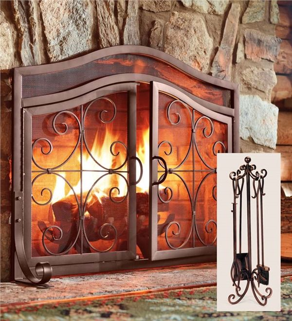 Main image for Large Crest Fireplace Screen With Doors And Tool Set