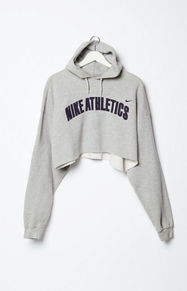 Retro Gold Vintage Nike Cropped Fleece Hoodie Sweatshirt at PacSun.com