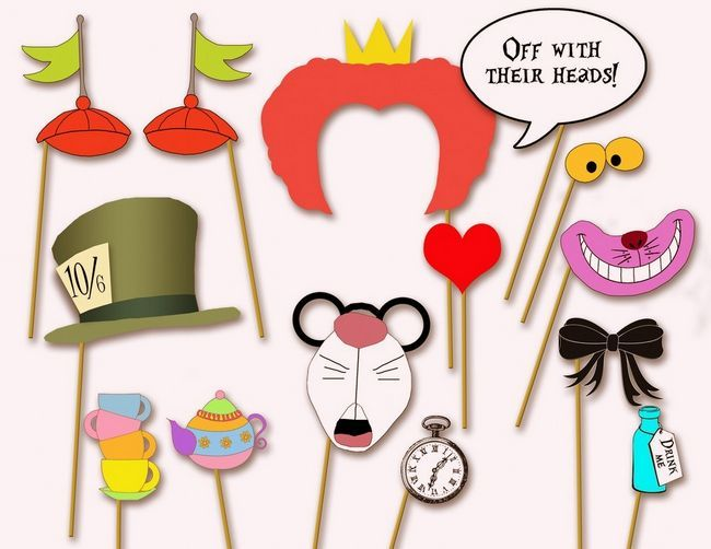 ::: These playful Alice in Wonderland party photo booth props will ensure fun photos of you and your wedding guests. DIY Tip: Simply download and print these items before carefully cutting them out and attaching them to skewer sticks.