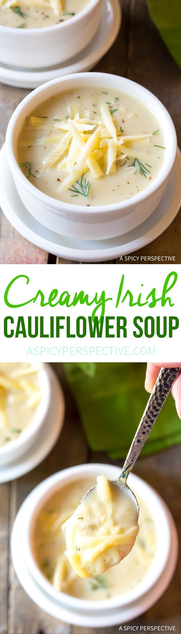 Irresistible Irish Creamy Cauliflower Soup Recipe for Saint Patrick's Day! via @spicyperspectiv