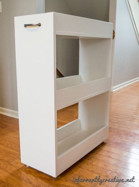 Free and easy, step-by-step, DIY plans to build your very own slim rolling laundry room storage cart for in between the washer and dryer.