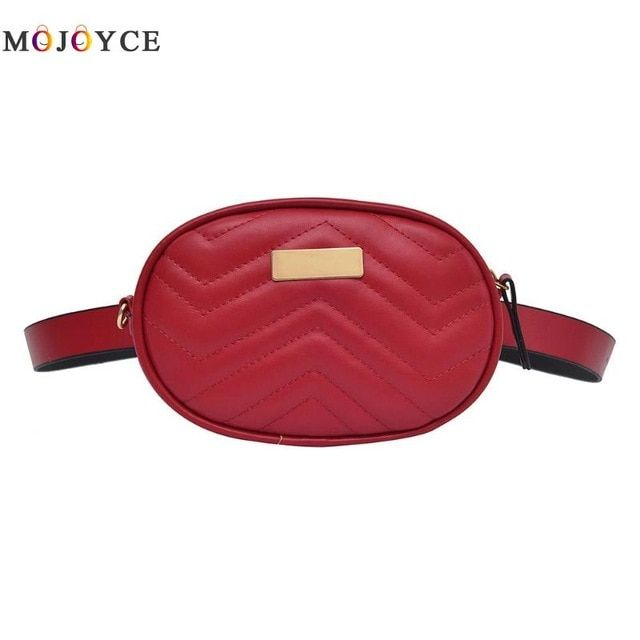 b5cd4321b33f Luxury Brand Designer Women Fanny Pack Female PU Leather Zipper Oval ...