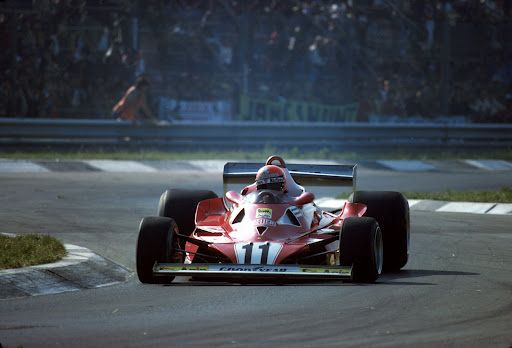 Ferrari Friday … last podium Niki Lauda, Ferrari 312T2, 1977 Italian Grand Prix, Monza Lauda, on his way to 2nd, behind Mario Andretti in the Lotus (a sign of things to come)