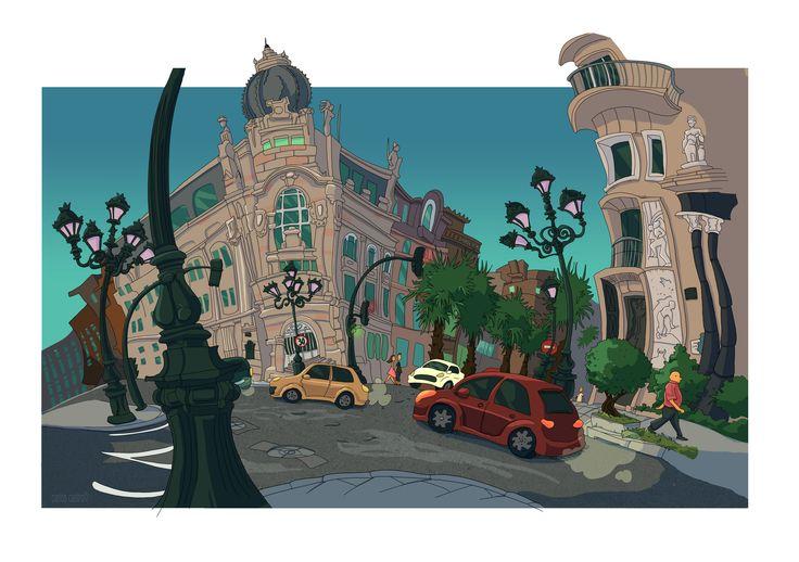 https://flic.kr/p/P7736e   Garcia Barbon   Illustration done on location. Color in Photoshop. Carlos Castro ©2016