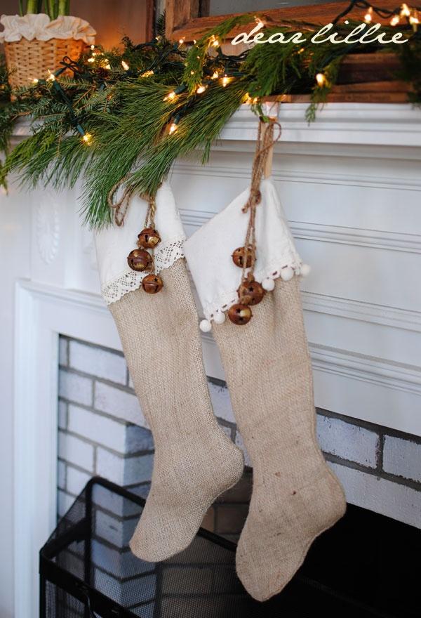 Burlap stockings rusty jingle bells by Dear