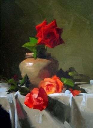 Three Roses, painting by artist Qiang Huang