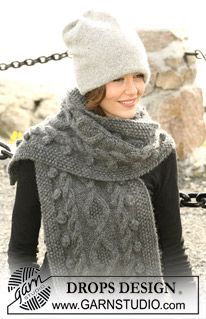 """DROPS double hat in 2 threads """"Alpaca"""" and DROPS scarf with cables in """"Eskimo"""" ~ DROPS Design"""