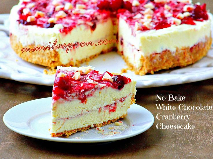 The perfect dessert for Christmas and Thanksgiving! No Bake White Chocolate Cranberry Cheesecake - fruity, creamy, chocolaty and totally delicious! | manilaspoon.com