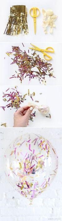 紙ふぶき入りの風船が可愛い♩身近な素材で『コンフェッティバルーン』をDIY*にて紹介している画像