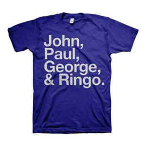 The Beatles John Paul George and Ringo T-Shirt - The gang's all here. This T-Shirt features a bold list of The Beatles member's names; John, Paul, George, and Ringo.