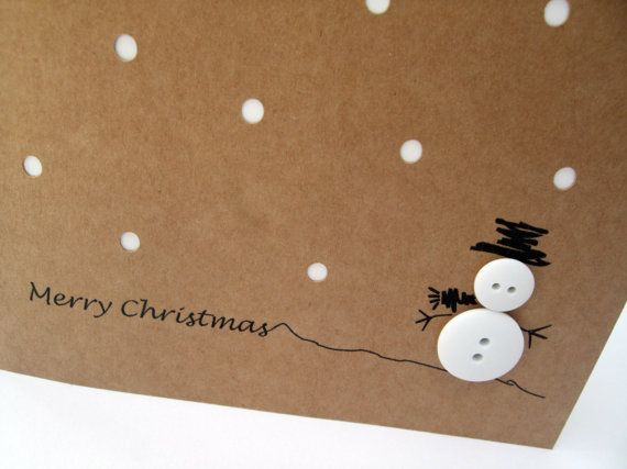 This cute and simple design features a button snowman with a hand drawn hat and arms and Christmas greeting on recycled brown Kraft card. The card has paper cut holes for snow with a white insert.  You will receive 4 cards and envelopes.  Size: 135x135mm  The Card is blank for you to add your personal message. It comes with a white envelope and in a protective cellophane bag. If you have any questions or requests about this, or any of my other items, please dont hesitate to get in touch.