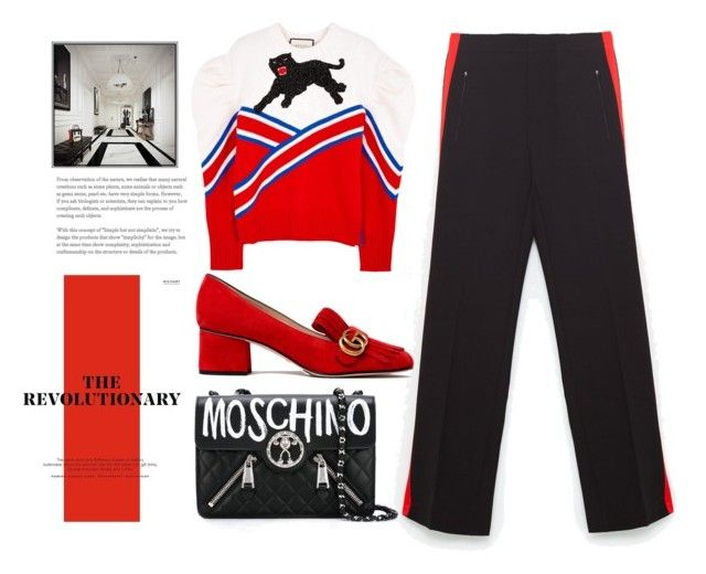 """""""RED."""" by hanahraa on Polyvore featuring Gucci and Moschino"""