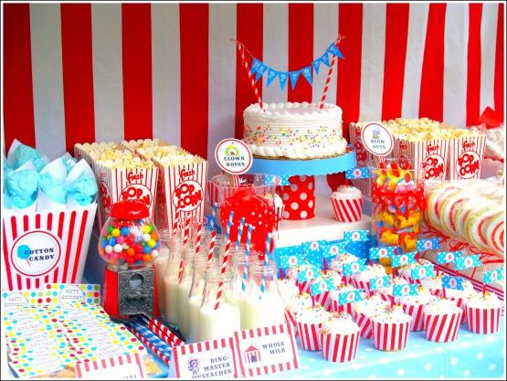 Vintage circus birthday party, sweet circus treats. What a neat idea, a vintage circus birthday party. The sweet circus treats must be amazing.
