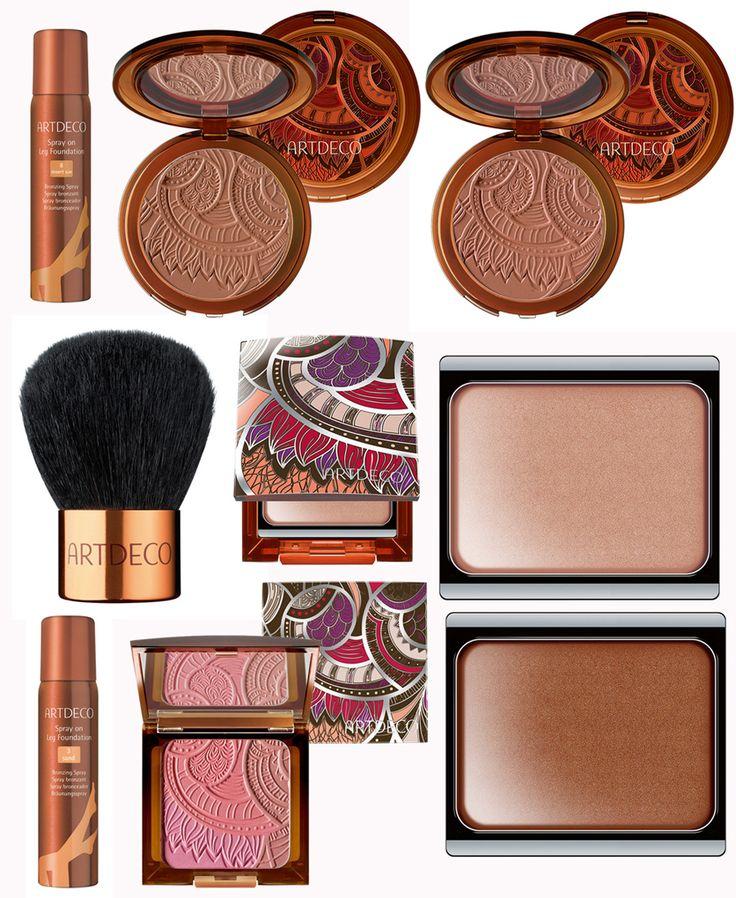 ArtDeco, Summer 2013: Kabuki brush, Illuminating Shimmer Cream,  Bronzing Powders, Tribal SunSet Spray on Leg Foundation.