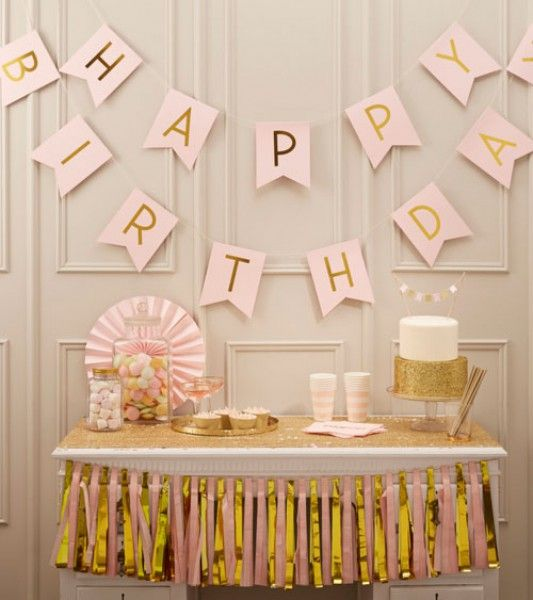 "Happy Birthday-Girlande ""Pastel Perfection"" – gold/rosa – 2,5m"