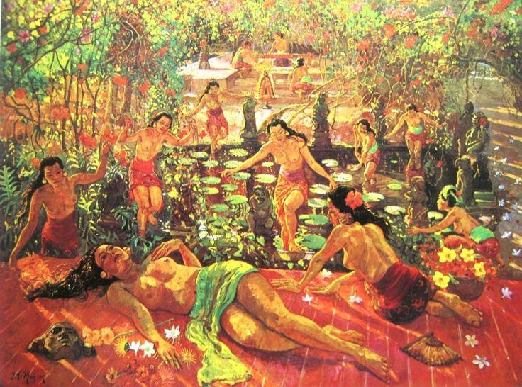 A.J.Le Mayeur de Merfres, Bermain di kolam