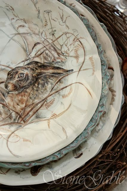 woodland plates from French company, Gien, and are part of a collection called Sologne...