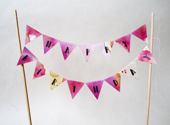 Printable Mini-Girlande HAPPY BIRTHDAY für den Kuchen oder die Torte. Gefunden auf Etsy.