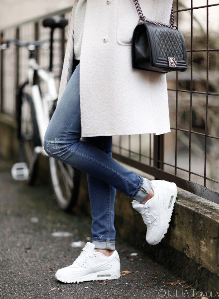 Pastel coat, white nike air max